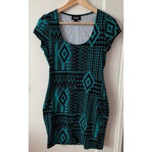 Geometric print bodycon dress (turquoise & black)